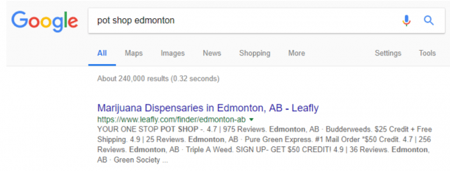 Organic Listing Results Page for Pot Shop Edmonton