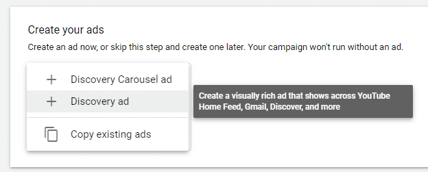 A screenshot of a Google Discovery campaign format